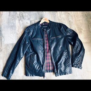 Guess Men's black jacket leather imitation